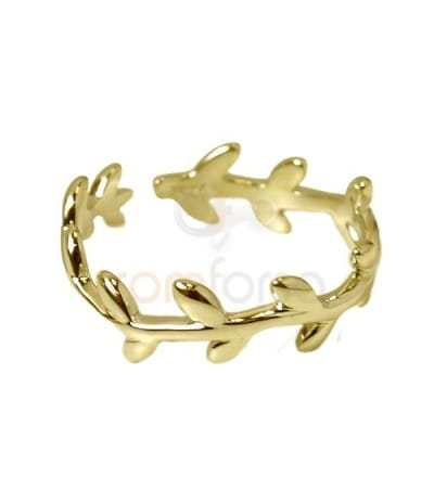 Gold plated sterling silver 925 laurel ring
