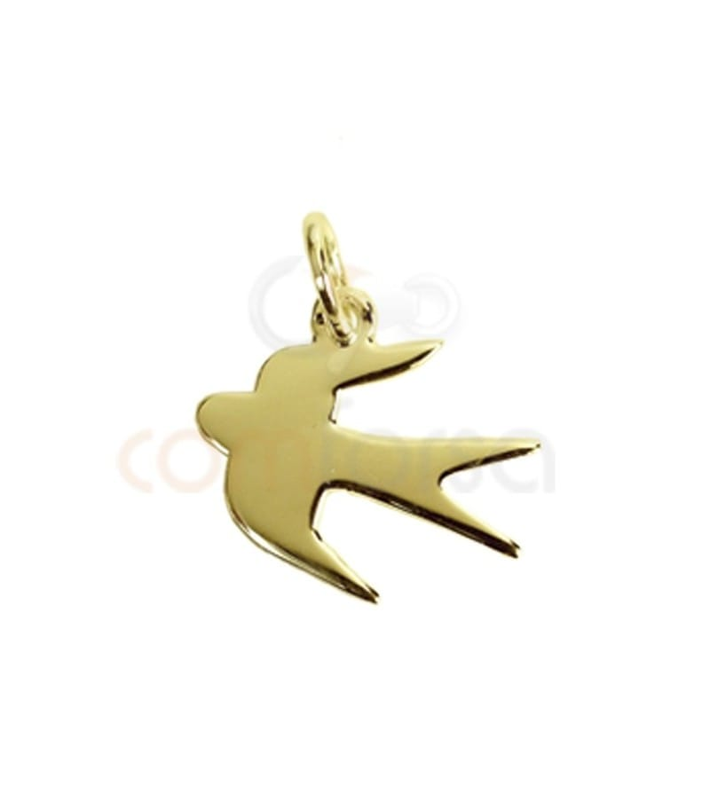 Gold plated sterling silver 925 woodswallow charm 14x13.5 mm