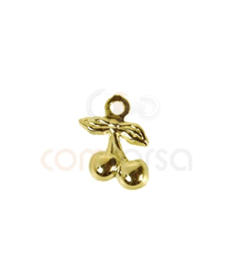 Gold plated sterling silver 925 cherry charm 6.5x10 mm